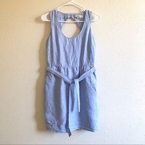 Loft 100% linen baby blue dress